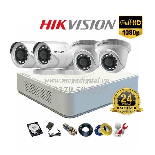 Trọn bộ 4 camera Hikvision HD1080P